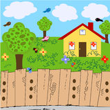 Nature landscape yard with house Royalty Free Stock Image