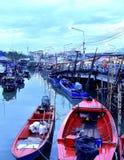 ืnature landscapes fishing boat Fishing port sea stock photos