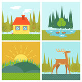 Nature Landscapes Outdoor Life Symbol Lake Forest. Nature Landscapes Outdoor Life Lake Forest House Deer Duck Line Icons Flat Design Vector Illustration Royalty Free Stock Image