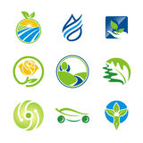 Nature leaf environment bio ecology logos Royalty Free Stock Image