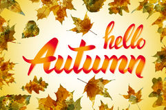 Nature leaf. Hello, Autumn. Watercolor orange texture. Vector. Royalty Free Stock Photo