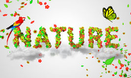 Nature leaves particles 3D. Digital art Stock Image
