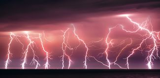 Nature lightning bolt at night thunderstorm royalty free stock images