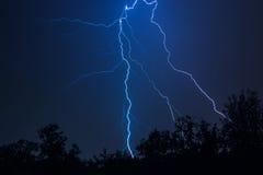 Nature lightning bolt at night thunder storm stock photos