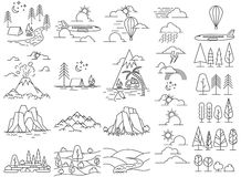 Nature line icon landscapes Stock Photo
