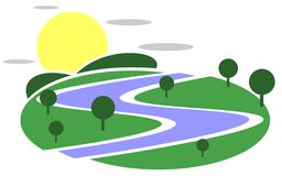 Nature logo with sun and river. An original project representing a landscape with river, trees and sun. An idea that can be used as logo or decoration for other Stock Photo
