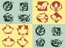 Nature logos set. Nature logos. Silhouettes of leaves on figures. Vector set Stock Images