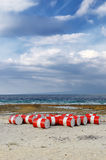 Lot of oil barrels on a seashore. Environment poll Royalty Free Stock Photos