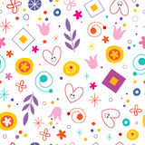 Nature love happiness fun cartoon seamless pattern Royalty Free Stock Images