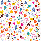 Nature love harmony fun cartoon seamless pattern Royalty Free Stock Photo