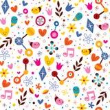 Nature love harmony fun cartoon seamless pattern stock illustration