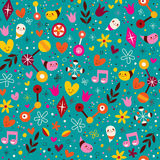 Nature love harmony fun characters seamless pattern Stock Photos