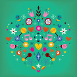 Nature love harmony heart abstract art retro vector illustration Stock Photo