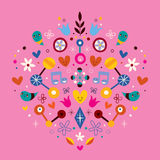 Nature love harmony heart abstract art vector illustration Royalty Free Stock Photos