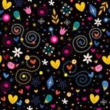 Nature love harmony hearts flowers dots fun characters seamless pattern. Nature love harmony hearts flowers dots fun seamless pattern Stock Photos