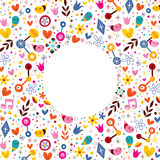 Nature love harmony hearts flowers fun cartoon circle frame background Stock Image