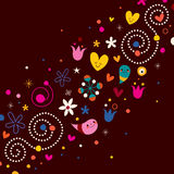 Nature love harmony retro abstract art. Vector illustration Stock Photos