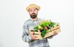 Nature lover. harvest festival. bearded mature farmer. seasonal vitamin food. Useful fruit and vegetable. organic and stock photo