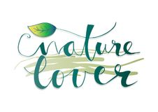 Nature Lover lettering Stock Images
