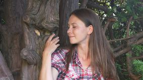 Nature lover woman exploring bark with tenderness. Environment protection. Female ecologist gently touching tree bark. She looks at amazing trunk and smiles stock video footage