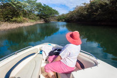 Nature Lovers Hat Lady Boat Waters Royalty Free Stock Photography