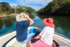 Nature Lovers Hats Ladies Boat Waters Stock Photography