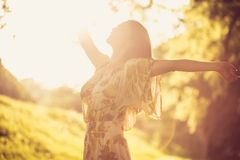 Nature make me happy. Beautiful young woman. stock images
