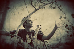 Nature Lover. Sensitve man expressing poetic love for trees Royalty Free Stock Image