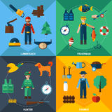 Nature Management Professions Icon Set Royalty Free Stock Photo