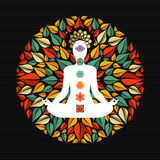 Nature mandala with yoga pose and chakra icons Stock Images