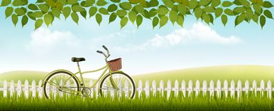Nature meadow landscape with a bicycle. Stock Image