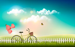 Nature meadow landscape with a bicycle. Royalty Free Stock Photography