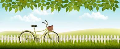 Nature meadow landscape with a bicycle. Royalty Free Stock Photos
