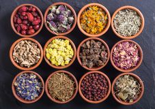 Mix of herbs. Nature medicine . Mix of herbs in bowl stock images