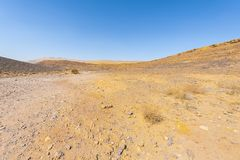 Nature of the Middle East. Rocky hills of the Negev Desert in Israel. Breathtaking landscape and nature of the Middle East royalty free stock photo