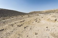 Nature of the Middle East. Rocky hills of the Negev Desert in Israel. Breathtaking landscape and nature of the Middle East stock photography