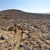 Nature of the Middle East. Rocky hills of the Negev Desert in Israel. Breathtaking landscape and nature of the Middle East royalty free stock photos