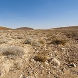 Nature of the Middle East. Rocky hills of the Negev Desert in Israel. Breathtaking landscape and nature of the Middle East stock image