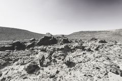 Nature of the Middle East. Rocky hills of the Negev Desert in Israel. Breathtaking landscape and nature of the Middle East. Black and white photo stock photography