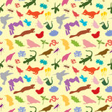 Nature Mix Pattern Three. Mix of animals and nature silhouette vector illustration