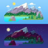 Nature Mountain Landscape Day and Night with Green Forest and Lake Stock Image