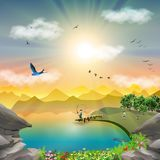 Nature mountain landscape at sunset lake fishing trip. Father and son fishing day trip at lake. Child playing with a dog, Beagle puppy on lake shore. Man rod royalty free illustration