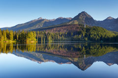 Nature mountain scene with beautiful lake in Slovakia Tatra - St Stock Images