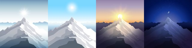 Nature mountain set. A midday sun, dawn, sunset, night in the mountains. Landscapes with peak. Mountaineering, traveling. Outdoor recreation concept. Abstract Royalty Free Stock Photos