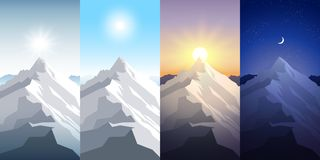 Nature mountain set. A midday sun, dawn, sunset, night in the mountains. Landscapes with peak. Mountaineering, traveling. Outdoor recreation concept. Abstract Royalty Free Stock Photography