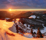 Nature mountain with sun at winter in Slovakia Stock Photo