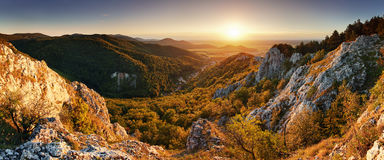 Nature mountain sunset - panoramic Royalty Free Stock Images