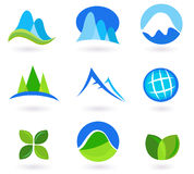 Nature, mountain and turism icons - blue and green Royalty Free Stock Photo