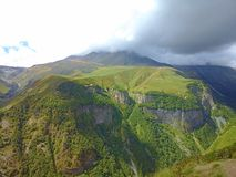 Nature of mountains-13. The Darial Pass was historically important as one of only two crossings of the Caucasus mountain range, the other being the Derbent Pass Royalty Free Stock Photography