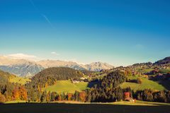 Nature and mountains of the surroundings of Merano in the province of Bolzano at the late autumn. Italy stock photography